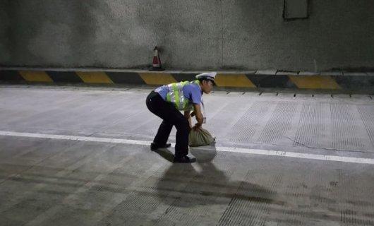 货车高速隧道内掉落两麻袋不明物品 永州民警及时清理