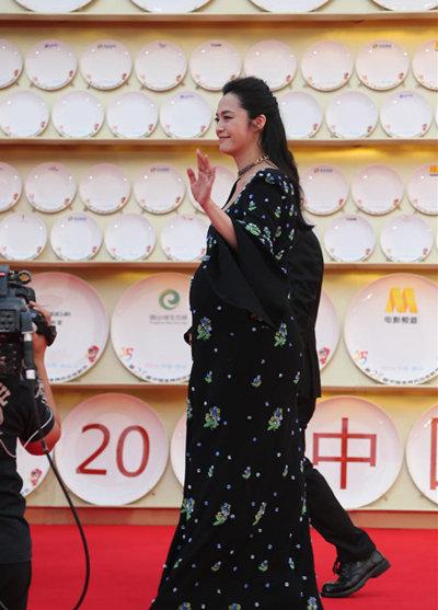 杨颖怀孕的大肚子照片素颜