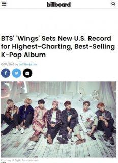 防弹少年团《WINGS》创韩国历史纪录 美Billboard前200榜单26位