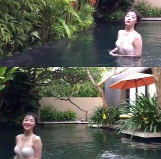 雪莉巴厘岛晒半裸照
